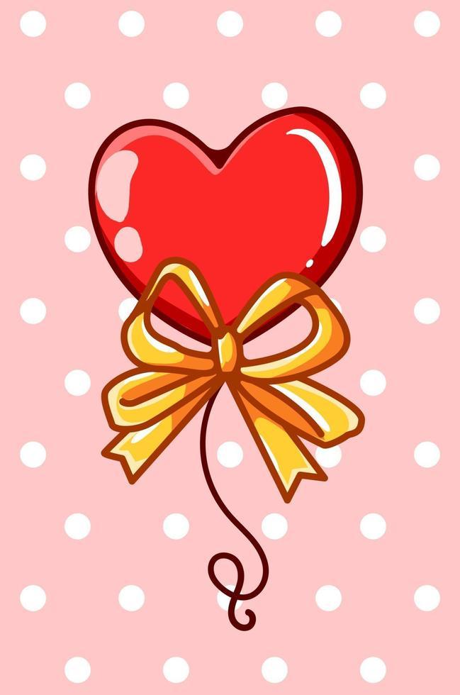 palloncino cuore con illustrazione di cartone animato nastro d & # 39; oro vettore