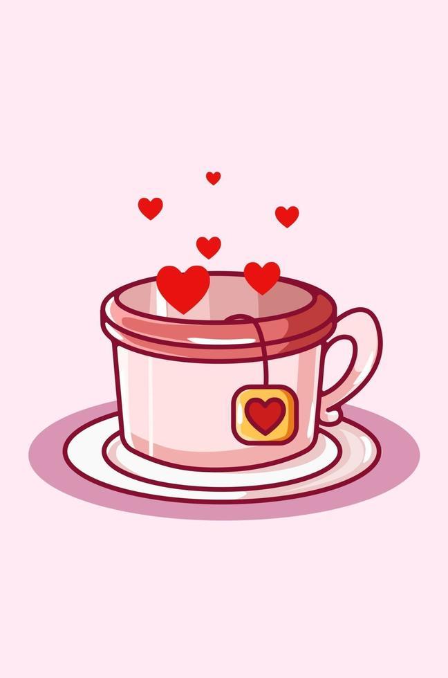 illustrazione di kawaii del fumetto del tè del cuore, giorno di san valentino vettore
