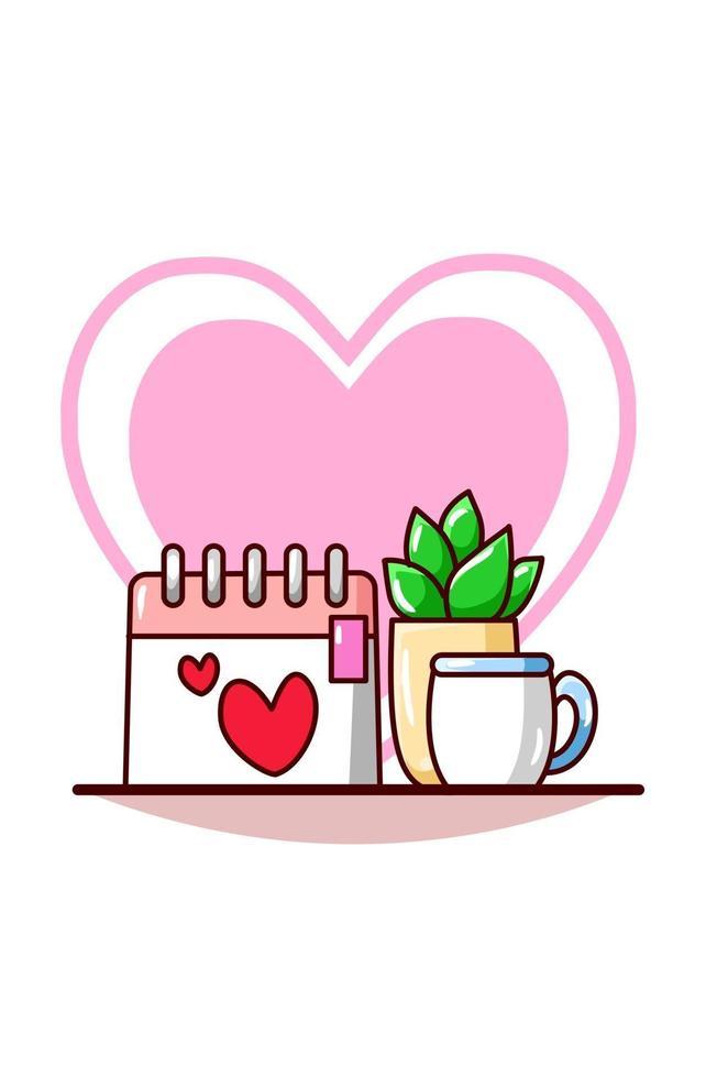 calendario di San Valentino con una tazza un'illustrazione di cartone animato di caffè vettore