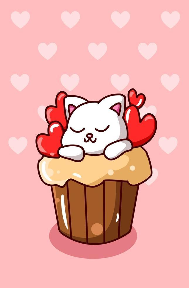 gatto kawaii sul cupcake con illustrazione di cartone animato piccoli cuori vettore