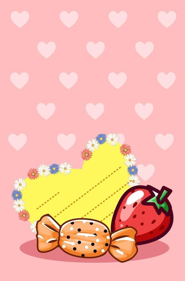 biglietto di auguri di San Valentino con illustrazione di cartone animato fragola e caramelle vettore