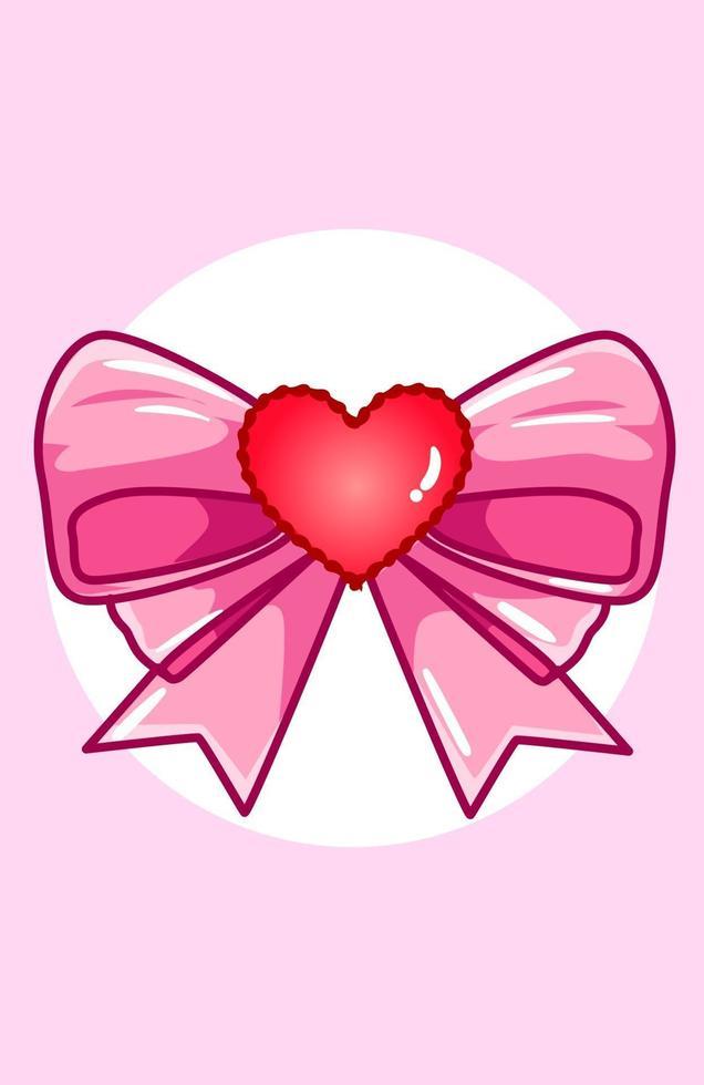nastro kawaii con cuore, illustrazione di cartone animato di san valentino vettore
