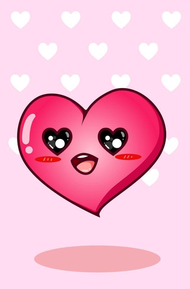 carino e felice grande cuore nel fumetto di San Valentino, illustrazione kawaii vettore