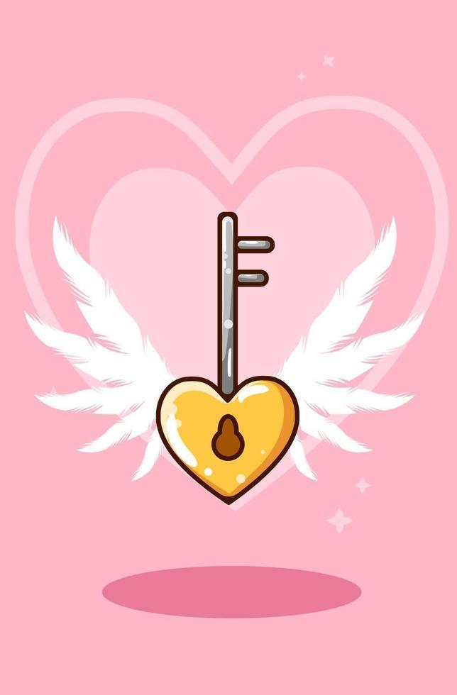 fumetto illustrazione del portachiavi a forma di cuore vettore