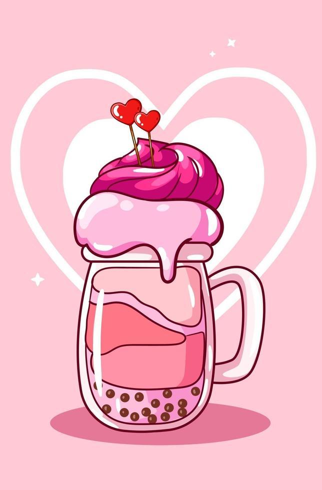 soda gelato di San Valentino con illustrazione di cartone animato di caramelle vettore