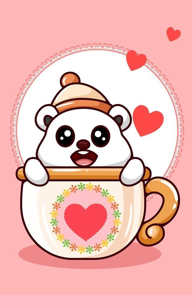 orso polare kawaii che indossa il cappello a cuffia nella tazza nell'illustrazione del fumetto di San Valentino vettore
