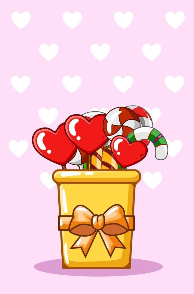 illustrazione del fumetto della caramella di San Valentino vettore