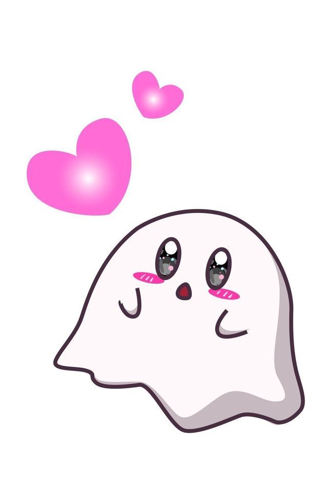 un simpatico fantasma con illustrazione di cartone animato di cuori vettore