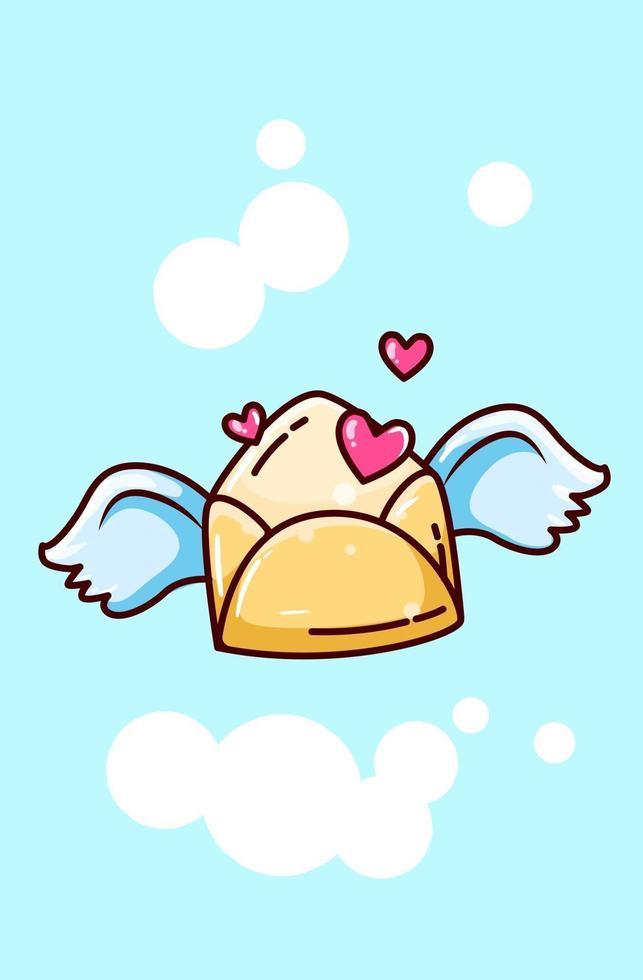 busta di amore volando con illustrazione di cartone animato ali vettore