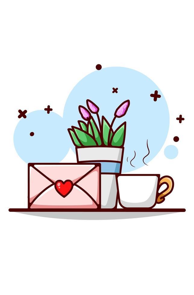 lettera d'amore, pianta ornamentale e illustrazione di cartone animato di tè vettore