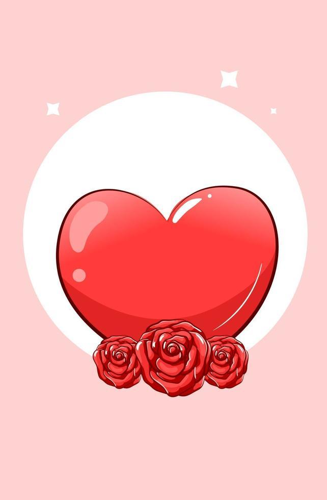 un grande cuore con illustrazione di cartone animato di rose vettore