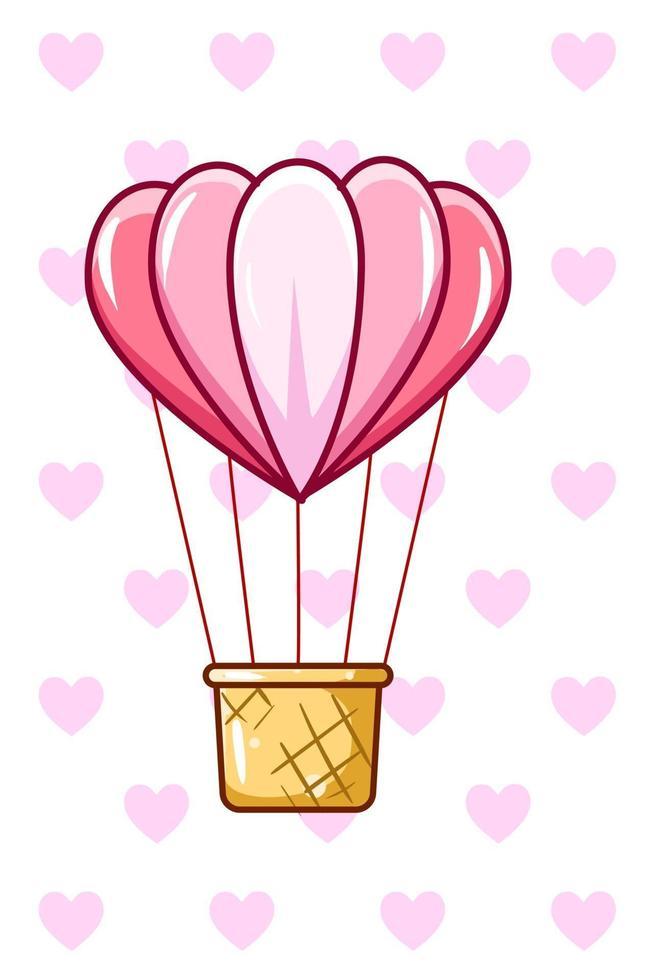 illustrazione della forma d'amore in mongolfiera vettore