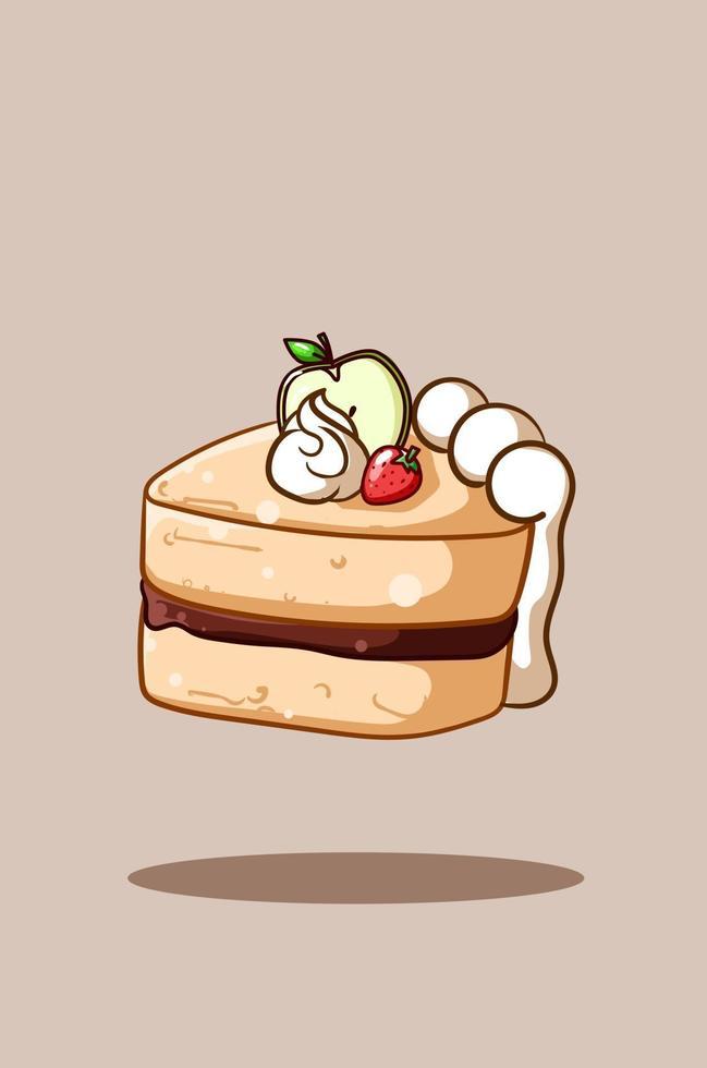 illustrazione di una torta a fette con fragole e illustrazione di cartone animato mela vettore