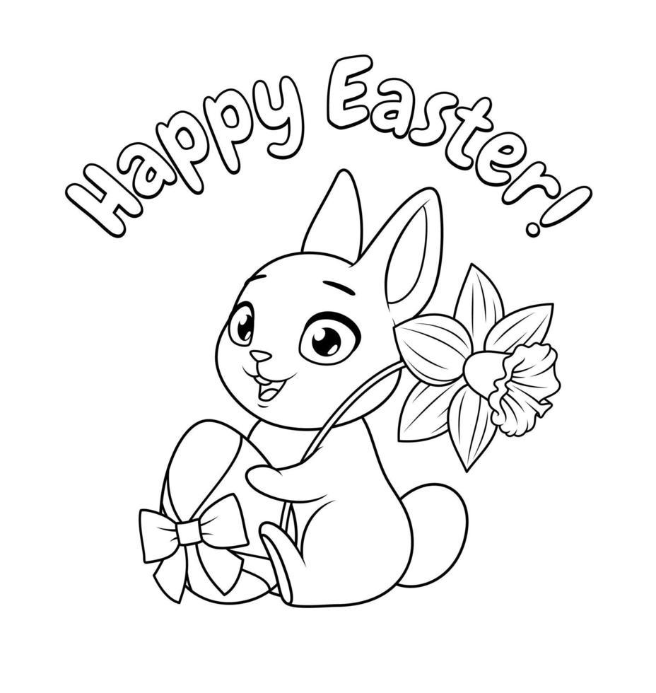 simpatico coniglietto che tiene un uovo e un fiore di narciso. Auguri di buona Pasqua con illustrazione in bianco e nero di vettore del fumetto per la pagina da colorare.
