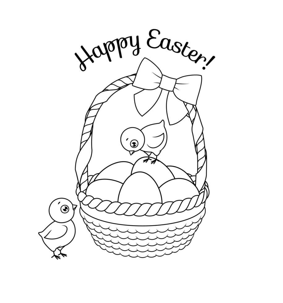 simpatici pulcini con cesto pieno di uova di Pasqua. illustrazione vettoriale in bianco e nero per la pagina del libro da colorare.
