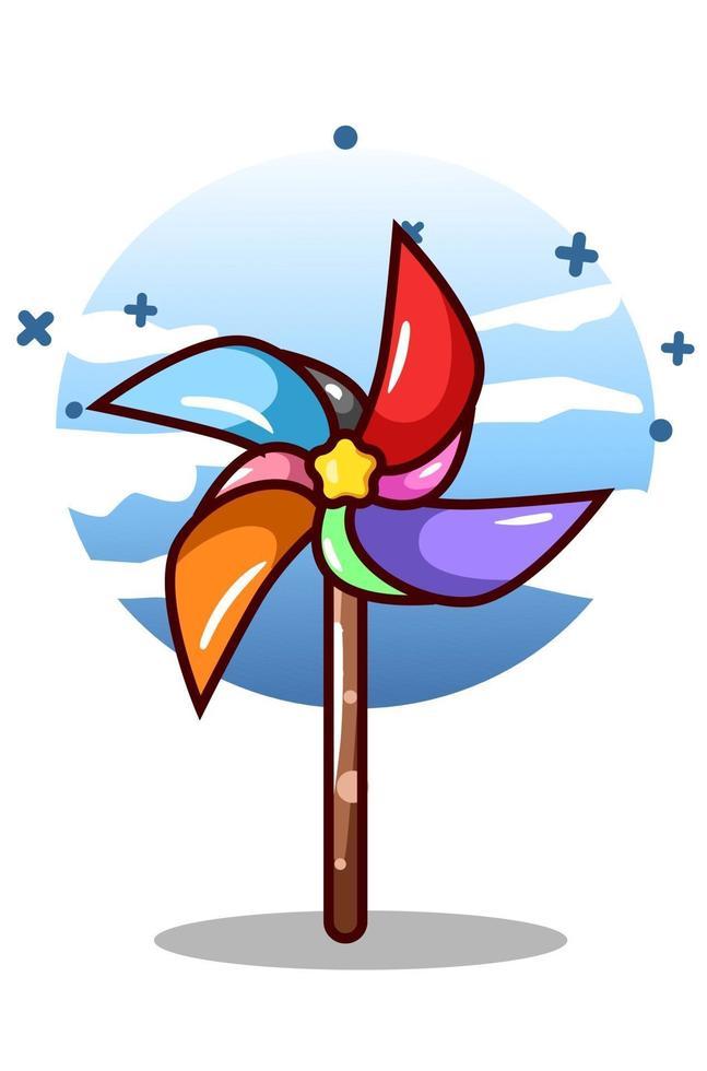 un colorato mulino a vento giocattolo fumetto illustrazione vettore