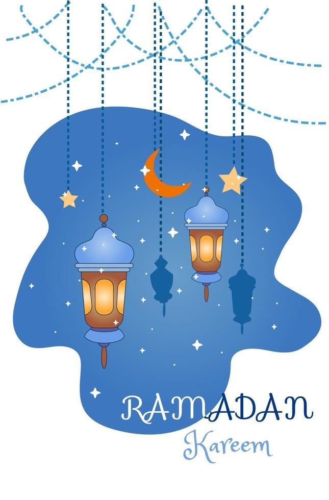 decorazione di Ramadan Kareem con illustrazione di cartone animato di lampade vettore