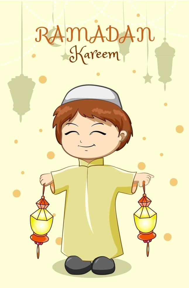 ragazzino musulmano che celebra il ramadan kareem con l'illustrazione del fumetto della lanterna vettore