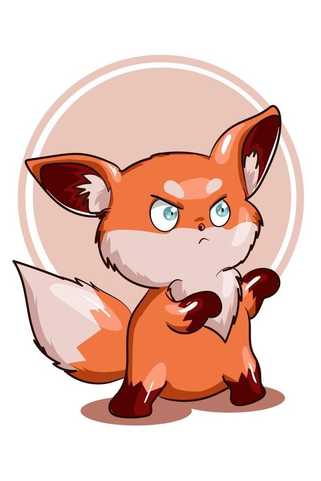 un po 'arrabbiato piccola illustrazione vettoriale volpe arancione