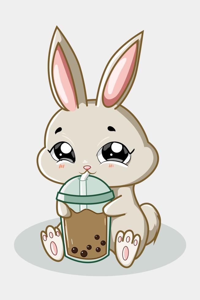 un simpatico coniglio che beve boba drink illustrazione vettore
