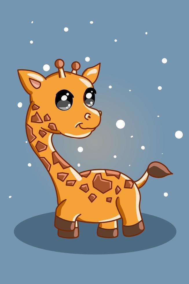una piccola illustrazione di giraffa carina e piccola vettore
