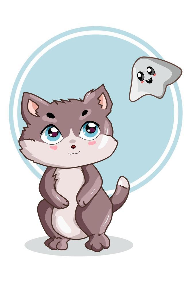 un piccolo gatto carino con una piccola illustrazione vettoriale fantasma