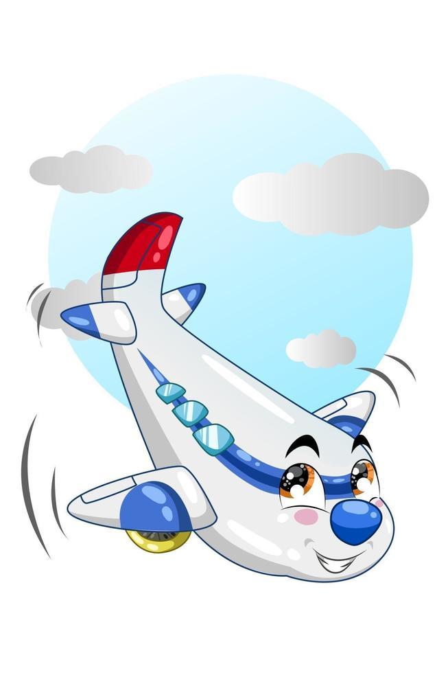 illustrazione del cartone animato aeroplano bianco blu nel cielo blu vettore