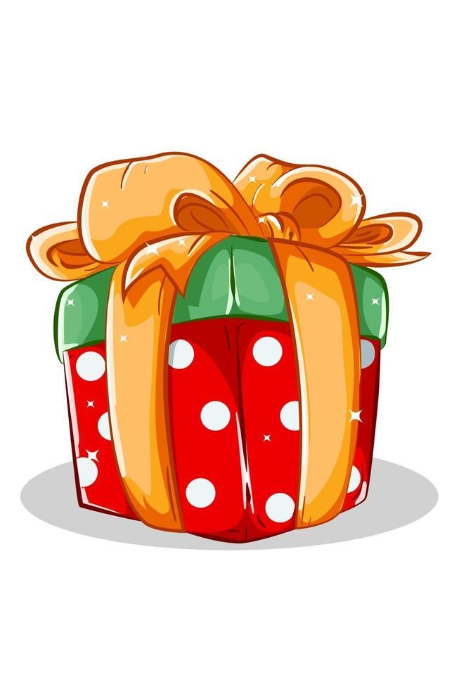 un regalo di Natale rosso verde con illustrazione vettoriale nastro giallo