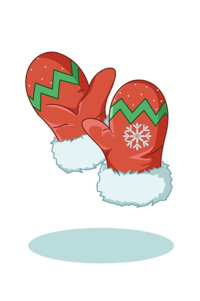 illustrazione di guanti di Natale rossi vettore