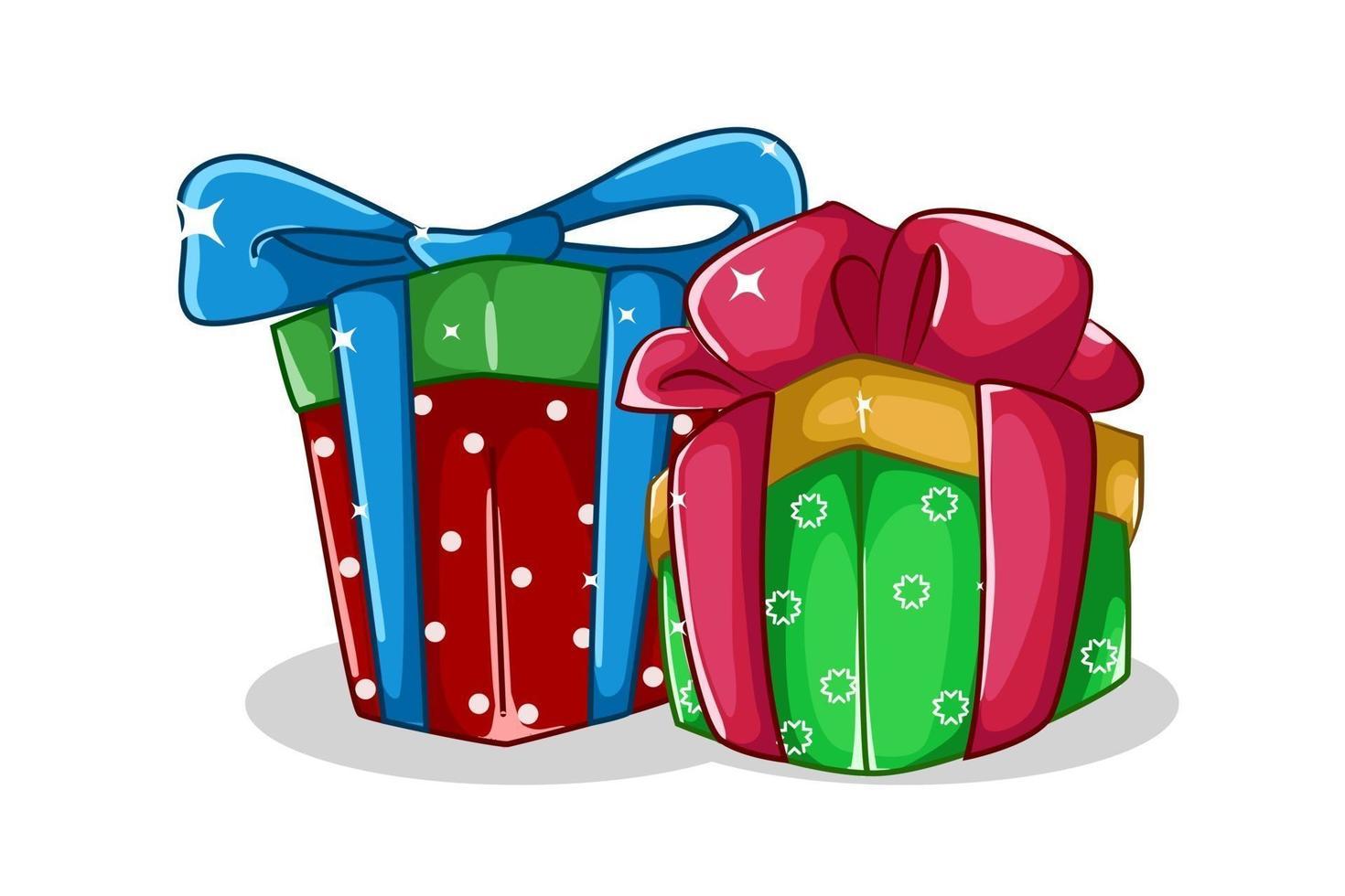 due illustrazione di tema del regalo di Natale vettore