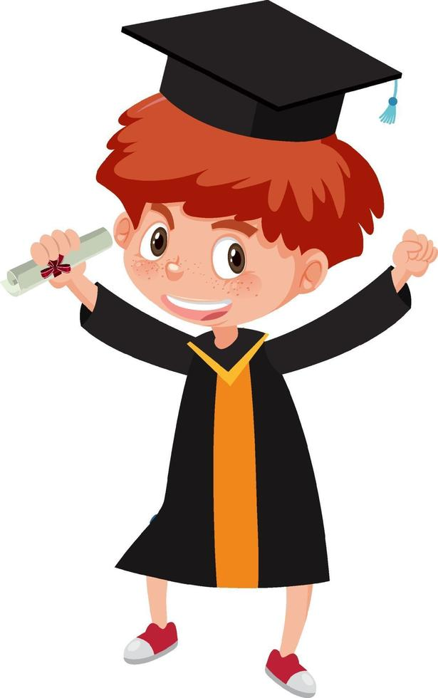 personaggio dei cartoni animati di un ragazzo che indossa il costume di laurea vettore