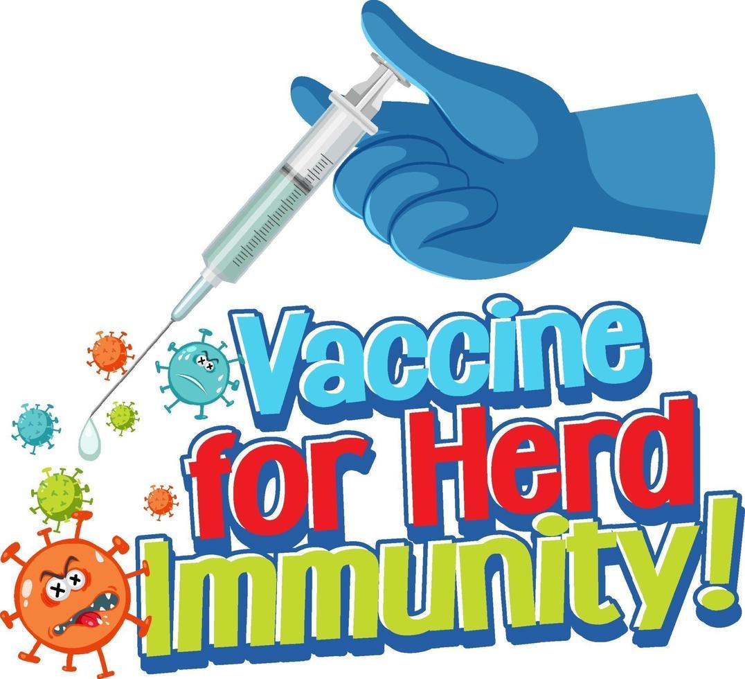 vaccino per il carattere di immunità della mandria con la mano che tiene una siringa vettore