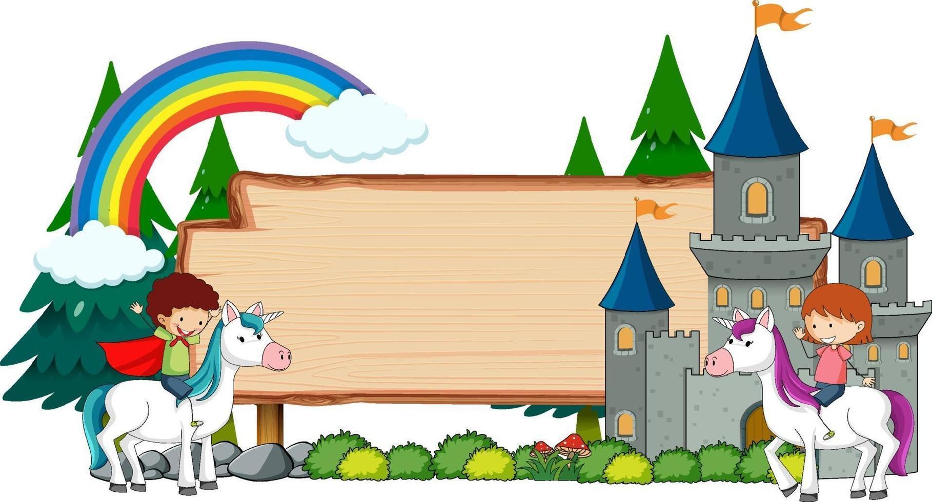 banner vuoto con personaggio dei cartoni animati di fiaba ed elementi isolati vettore