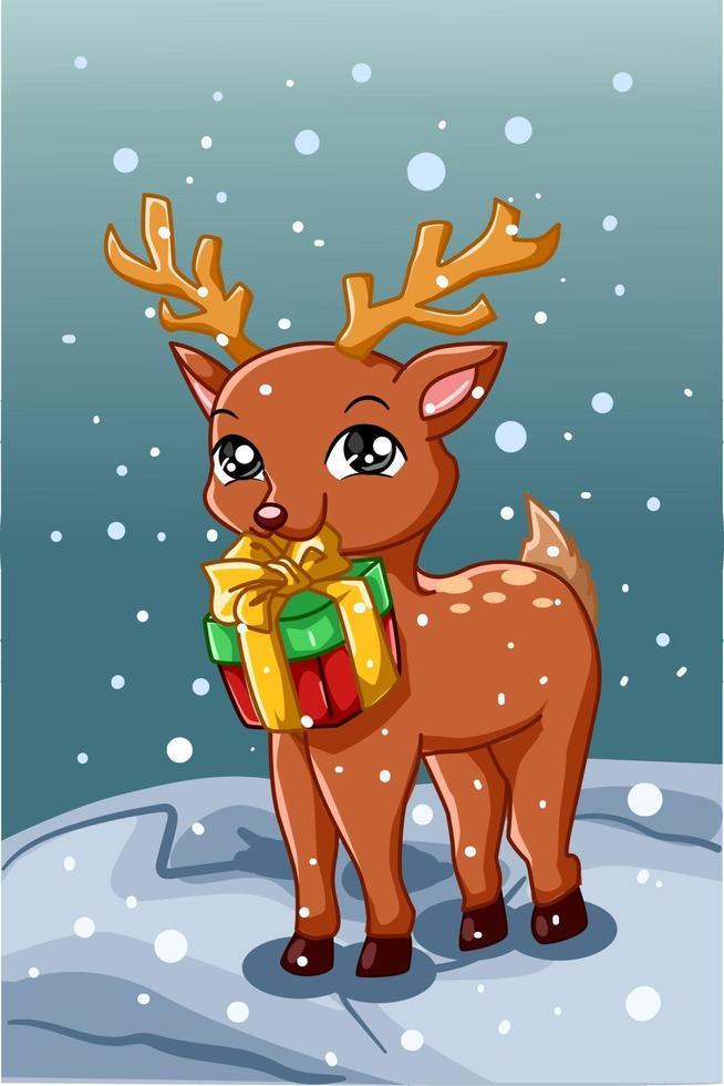 un piccolo e grazioso cervo che porta un regalo di Natale in inverno vettore