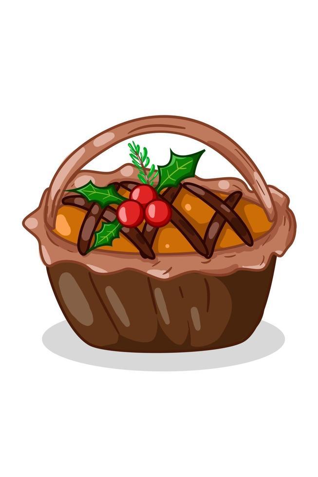illustrazione della torta torta con foglie di agrifoglio vettore