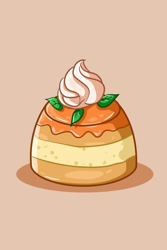 illustrazione di budino d'arancia con crema vettore