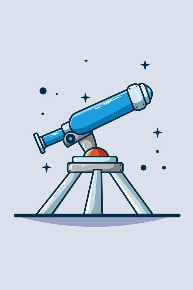 telescopio icona illustrazione disegno a mano vettore