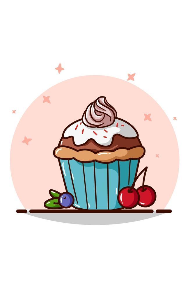 un cupcake con panna, ciliegia e mirtillo vettore