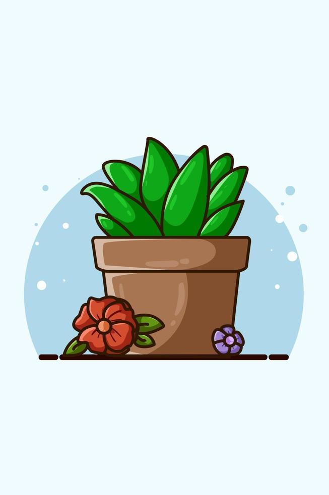 illustrazione di piante ornamentali e fiori vettore