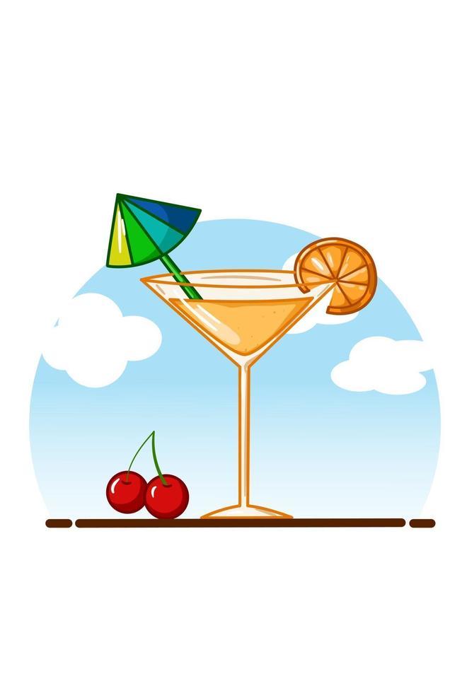 succo d'arancia in un bicchiere piccolo con ciliegie con lo sfondo del cielo vettore