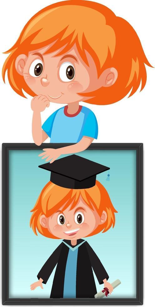 personaggio dei cartoni animati di una ragazza che tiene la sua foto ritratto di laurea vettore