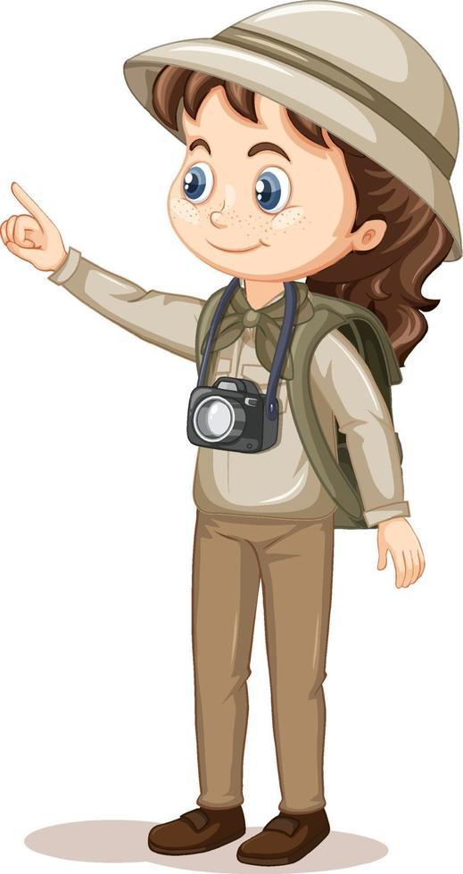 personaggio dei cartoni animati di una ragazza in abiti da campeggio vettore