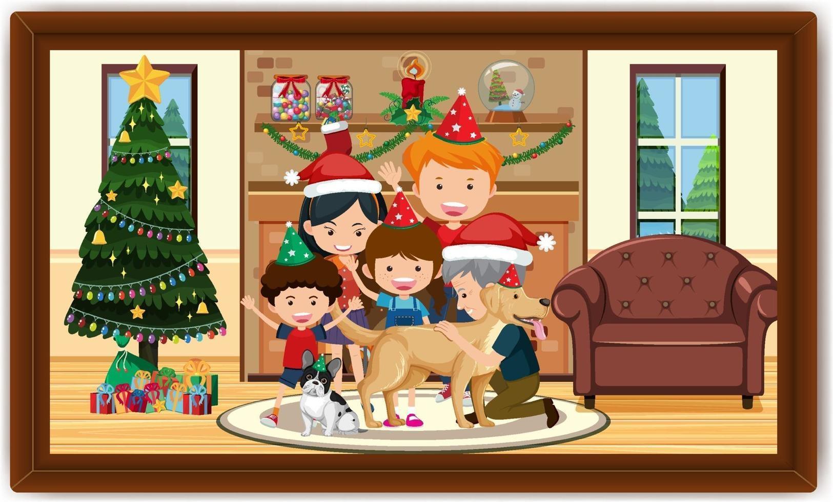 famiglia felice in costume natalizio nella foto di scena del soggiorno in una cornice vettore