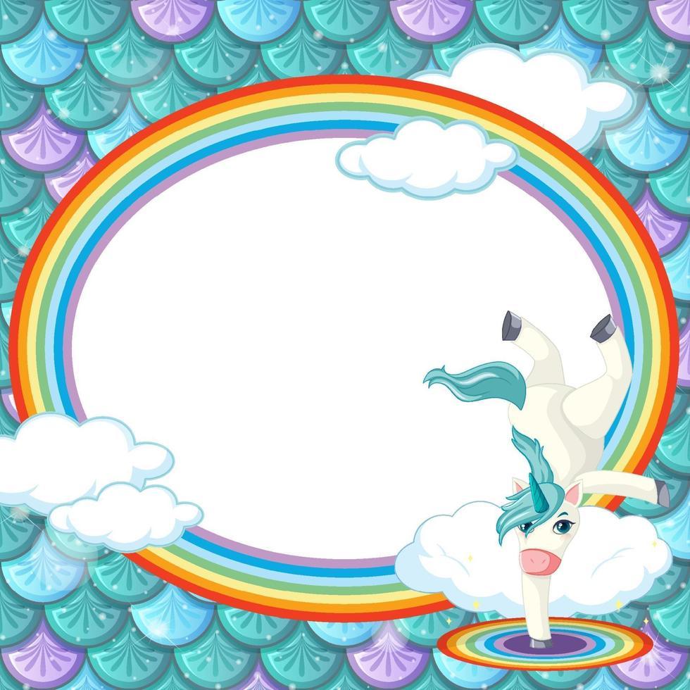 modello di cornice ovale su sfondo di squame di pesce verde con personaggio dei cartoni animati di unicorno vettore
