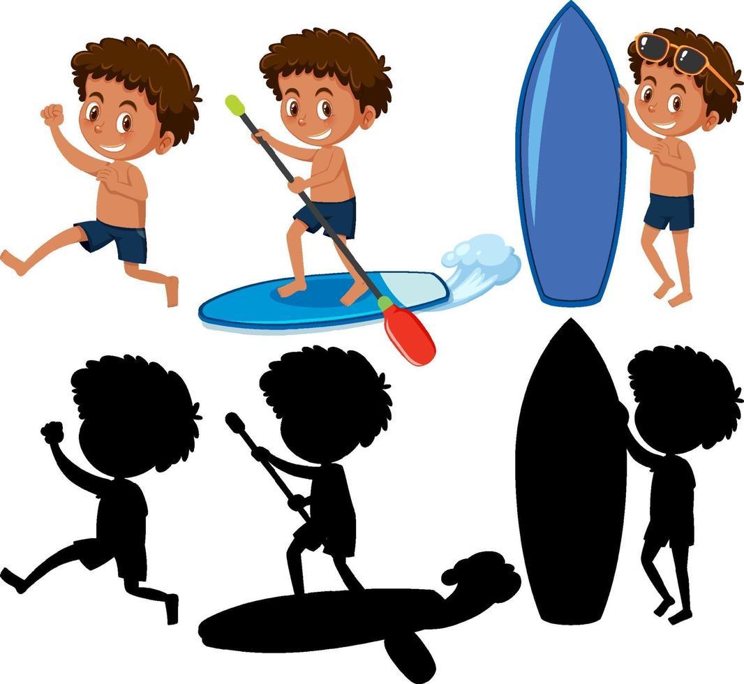 set di un personaggio dei cartoni animati ragazzo che fa diverse attività con la sua silhouette vettore