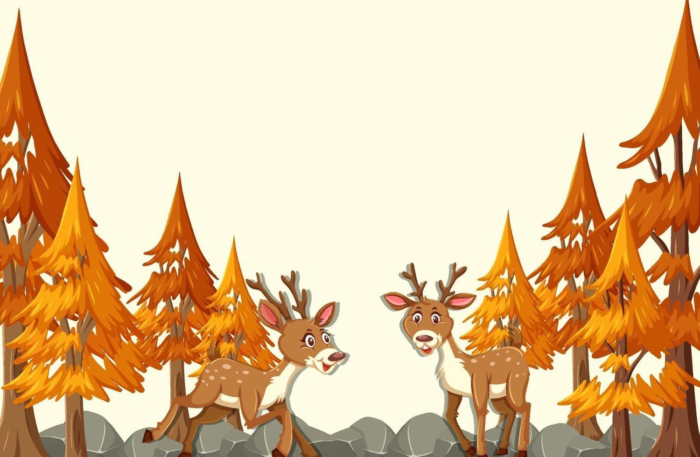 personaggio dei cartoni animati di cervo nella scena della foresta di autunno vettore