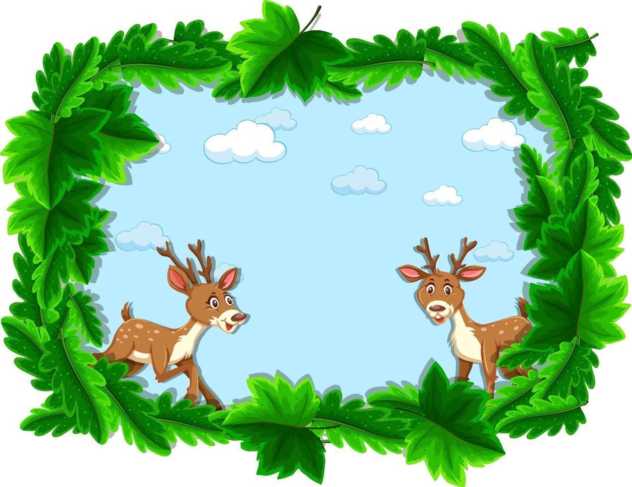 banner vuoto con cornice di foglie tropicali e personaggio dei cartoni animati di cervo vettore