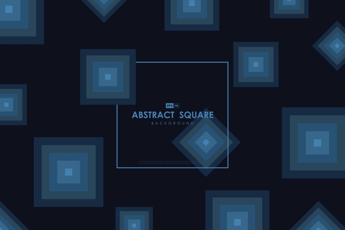 fondo di progettazione del manifesto del materiale illustrativo del modello quadrato minimo astratto blu. illustrazione vettoriale eps10