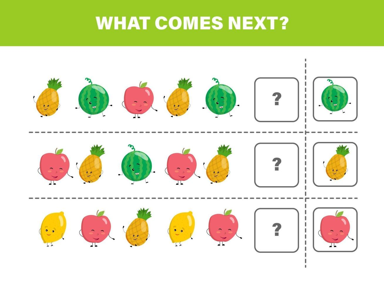 cosa viene dopo con frutti carini. fumetto illustrazione vettoriale. foglio di lavoro logico per bambini. vettore