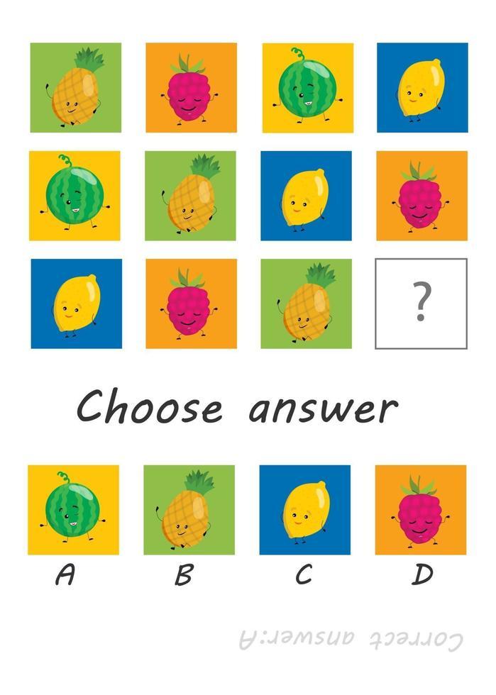 gioco di logica per bambini, attività per bambini, compito per lo sviluppo del pensiero logico e della mente, frutti di simpatici cartoni animati vettore